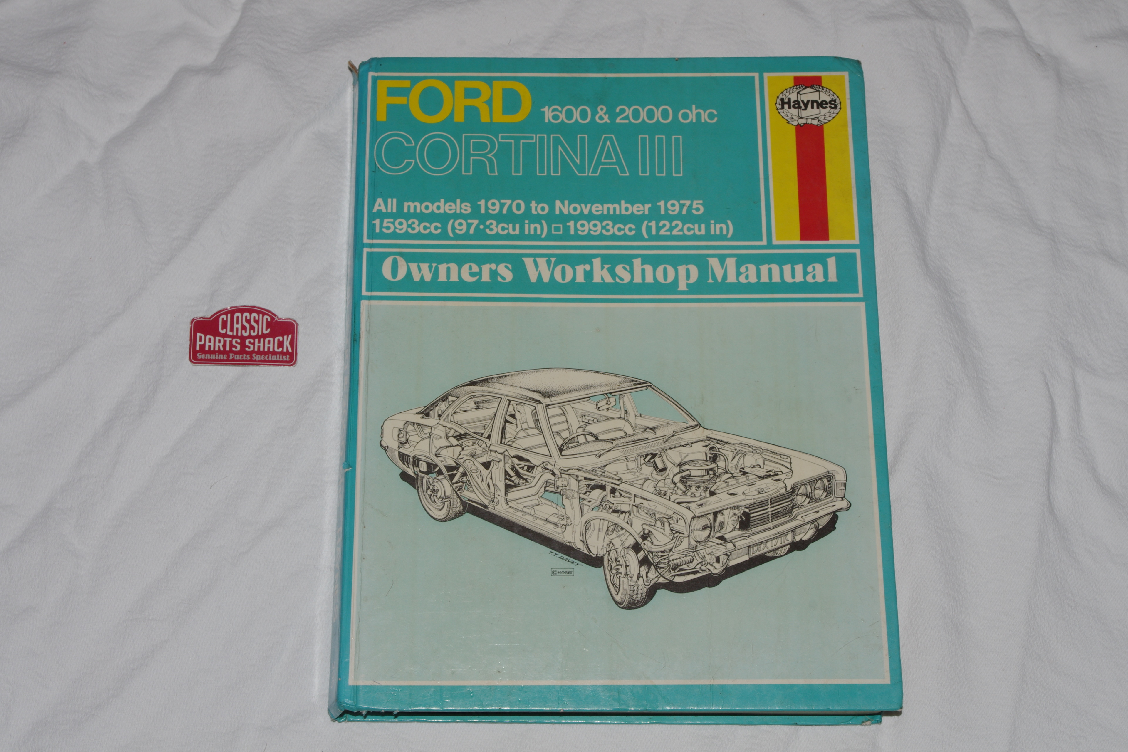 Ford Cortina Mk3 GLX 1.6 2.0 ohc (all models) Haynes Manual used vol 295,  for sale at Classic Parts Shack.